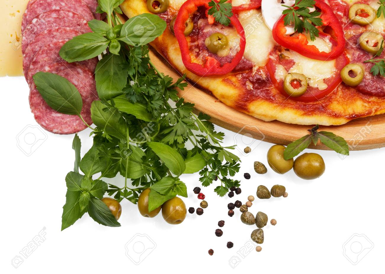 Pizza, Herbs And Spices Isolated On White.